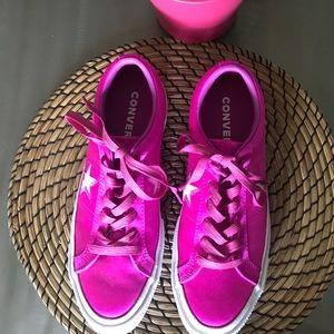 Converse pink silk sneakers